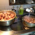 卵を茹でています。